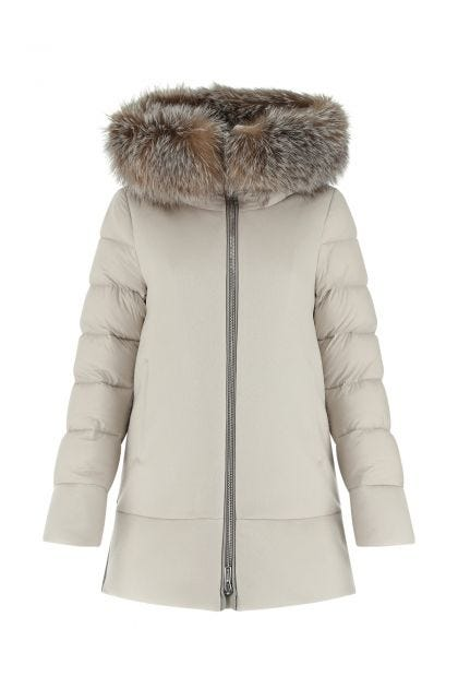 Sand wool blend and nylon Fresia down jacket