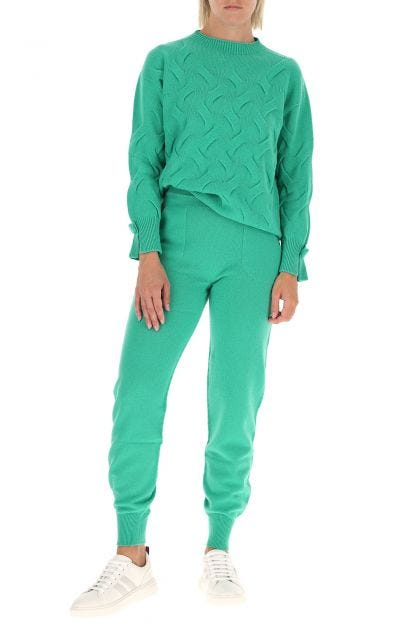 Emerald green wool and cashmere  joggers