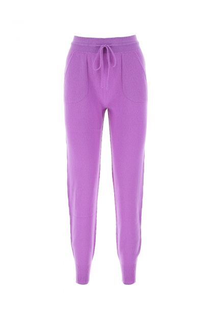 Purple wool and cashmere joggingers