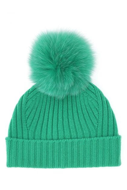 Emerald green wool and cashmere beanie hat