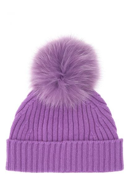 Purple wool and cashmere beanie hat