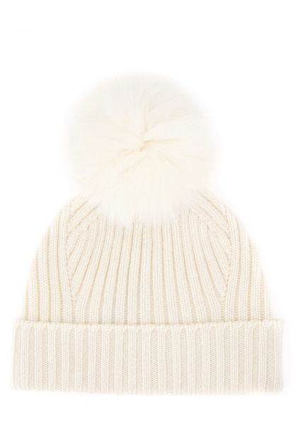 Ivory wool and cashmere beanie hat