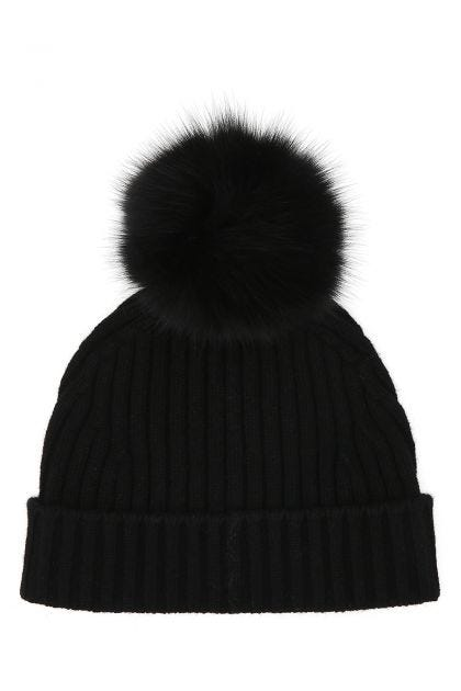 Black wool and cashmere beanie hat