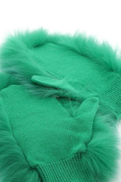 Emerald green fur and wool blend gloves