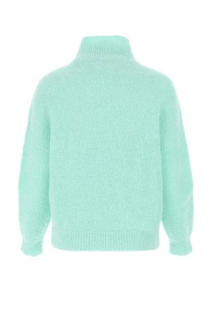 Sea green stretch mohair blend sweater