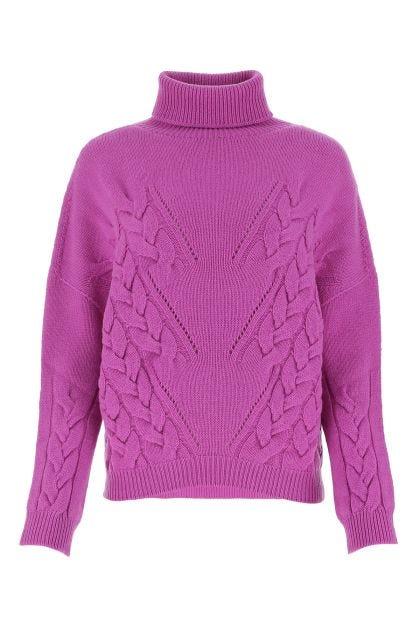 Fuchsia wool and cashmere oversize sweater