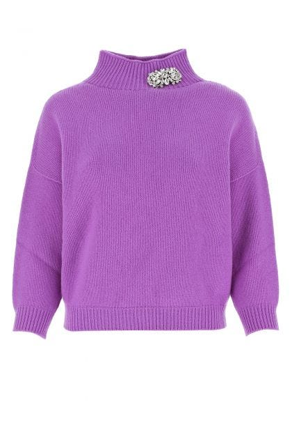 Purple wool and cashmere sweater