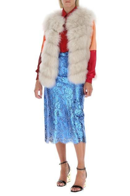 Ivory sleeveless fur coat