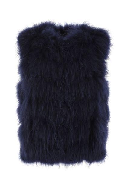 Dark blue sleeveless fur coat