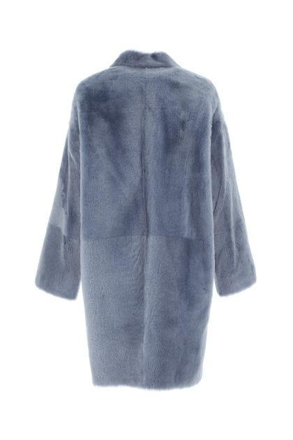 Powder blue fur coat