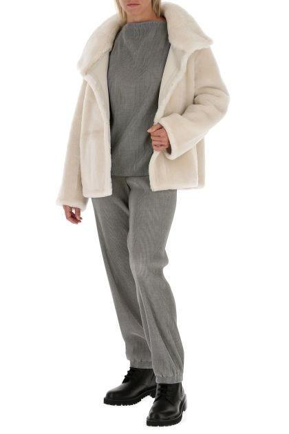 Ivory fur coat