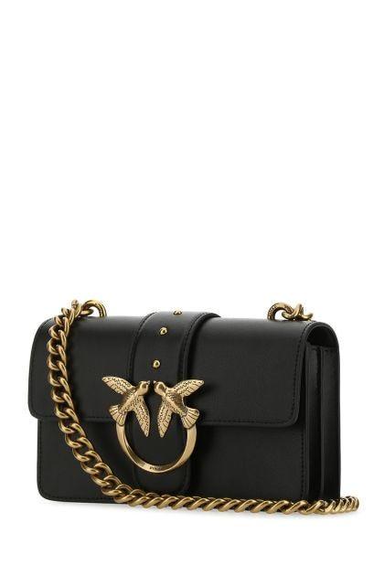 Black leather mini Love Icon Simply crossbody bag