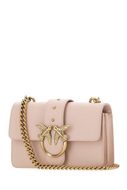 Powder pink leather Love Icon Simply mini crossbody bag