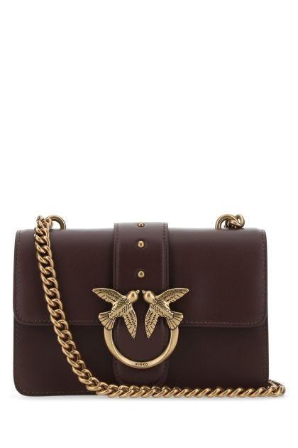 Plum leather mini Love Bag Icon crossbody bag