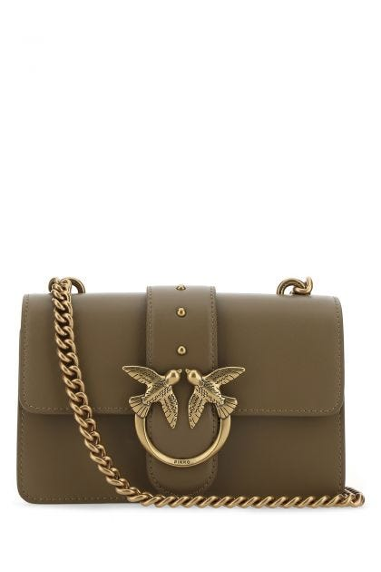 Dove grey leather mini Love Bag Icon crossbody bag