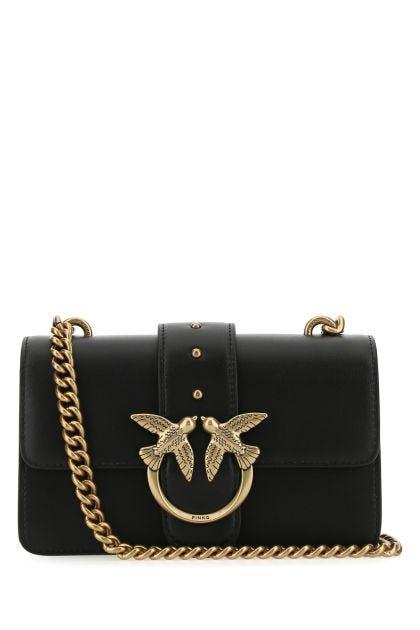 Black leather mini Love Icon crossbody bag