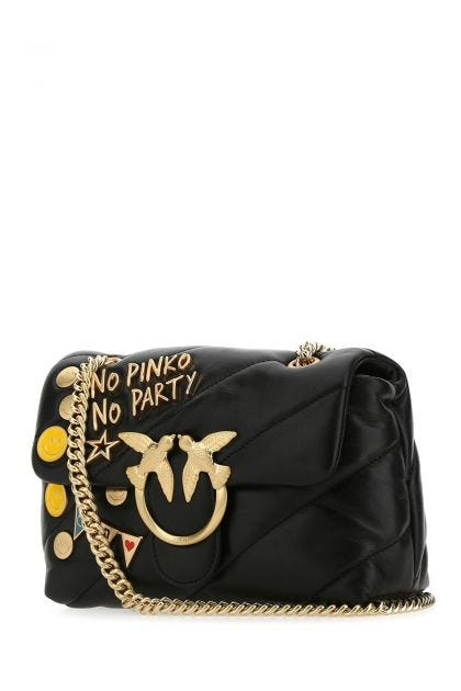 Black nappa leather mini Love Bag Puff shoulder bag