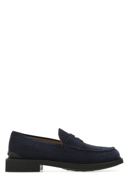 Dark blue suede loafers