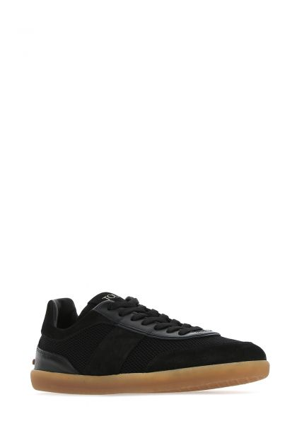 Black fabric and leather sneakers