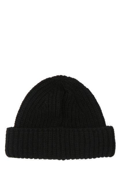 Black acrylic blend beanie hat