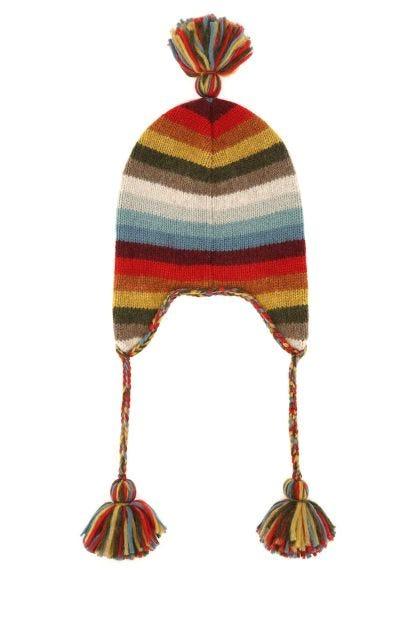 Multicolor alpaca blend beanie hat