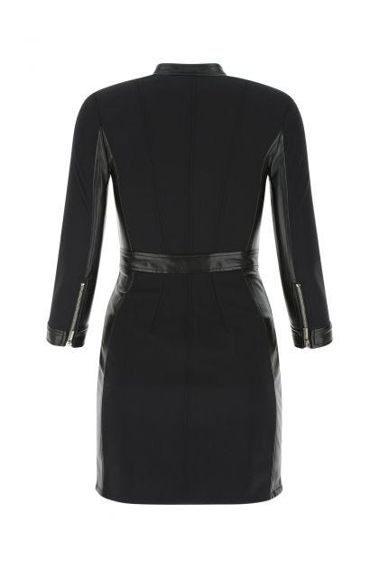 Black stretch nylon and synthetic leather mini dress