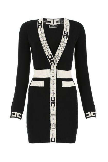 Two-tone viscose blend mini dress
