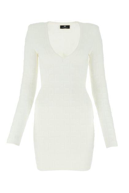 White viscose blend mini dress