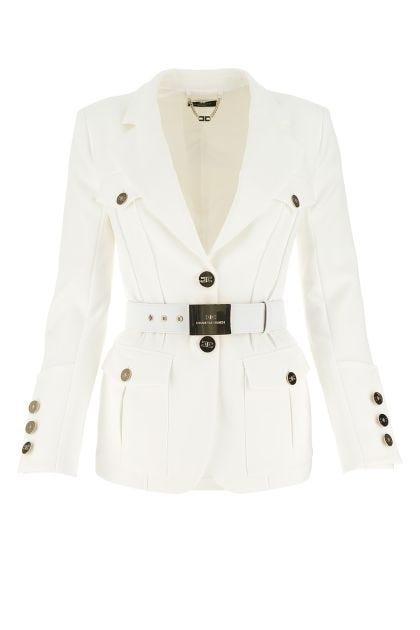 Ivory stretch polyester blazer