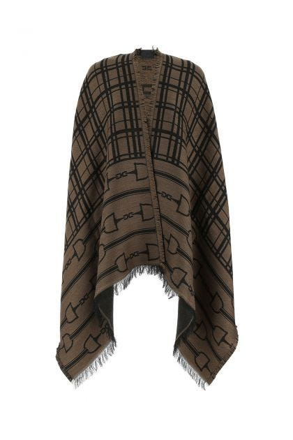 Embroidered wool blend cape