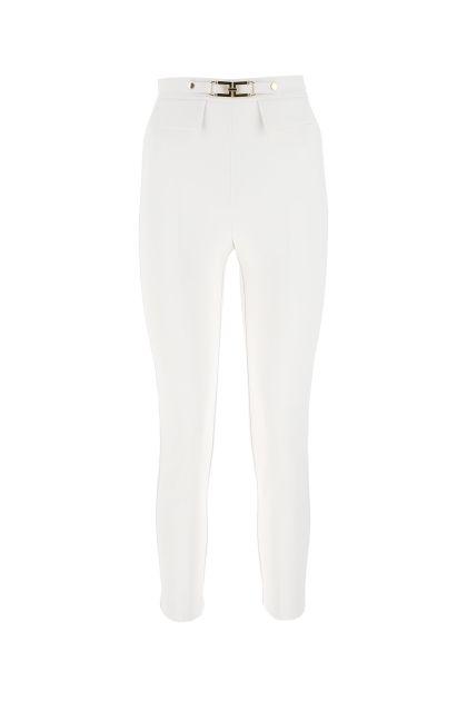 White stretch crepe cigarette pant