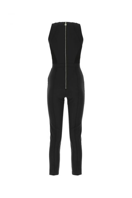 Black stretch nylon jumpsuit