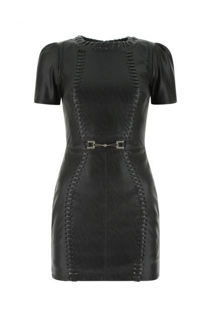 Black synthetic leather mini dress