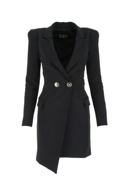 Black stretch polyester blazer dress