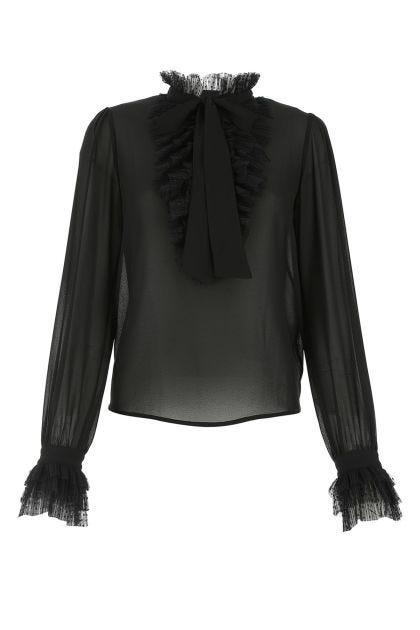 Black polyester blouse