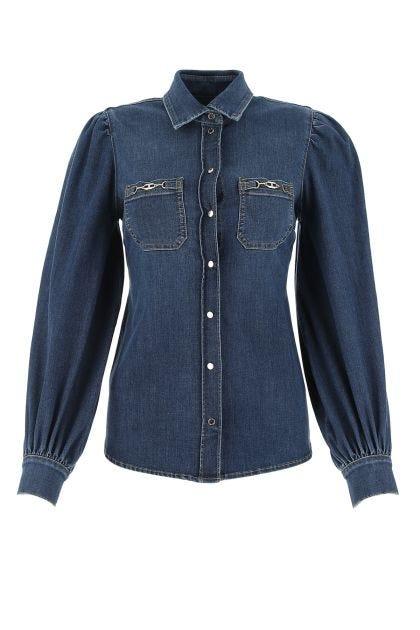 Blue stretch denim shirt