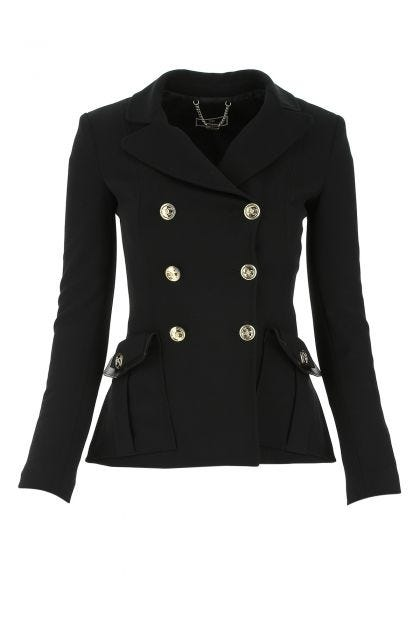 Black stretch polyester blend blazer
