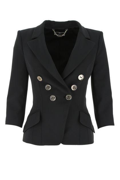 Black stretch polyester blazer