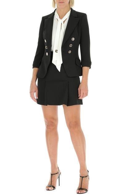 Black stretch polyester mini skirt