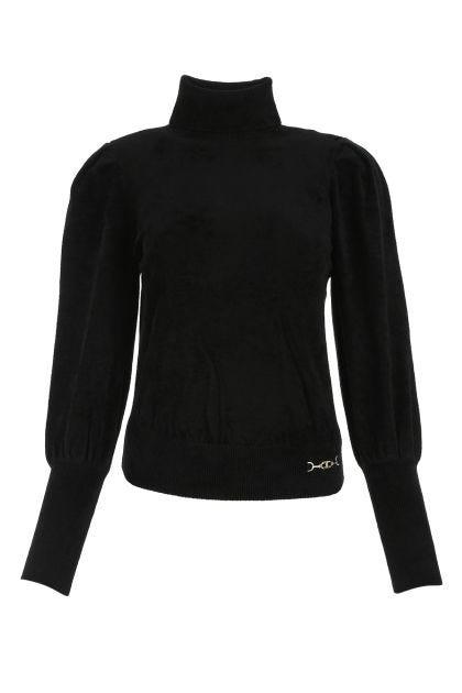 Black stretch viscose blend top
