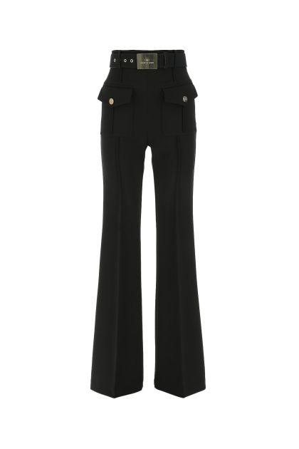 Black stretch polyester palazzo pant