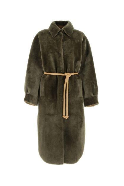 Army green wool reversible fur coat