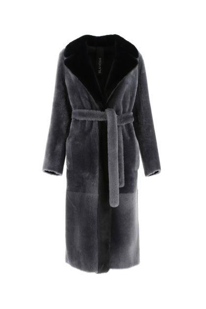Dark grey reversibile fur coat