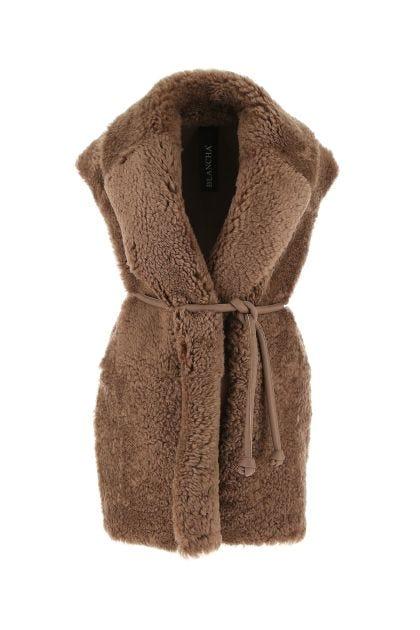 Biscuit wool fur coat