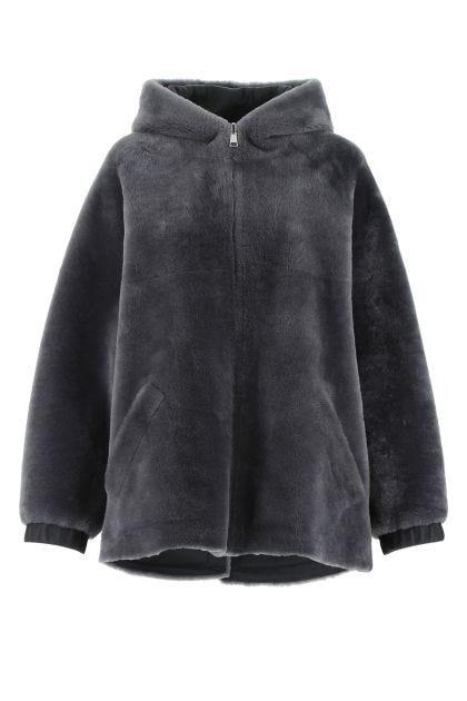 Dark grey shearling reversible coat