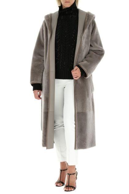 Dove grey reversible fur coat