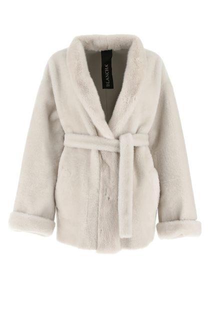 Chalk reversible fur coat
