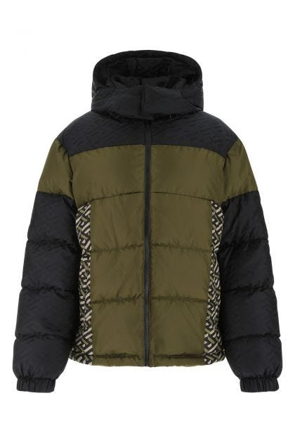 Multicolor polyester and nylon down jacket
