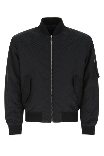 Black nylon reversibile bomber jacket