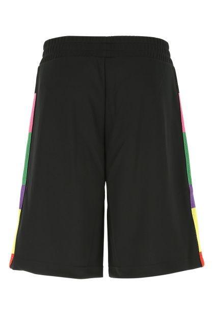 Black polyester bermuda shorts